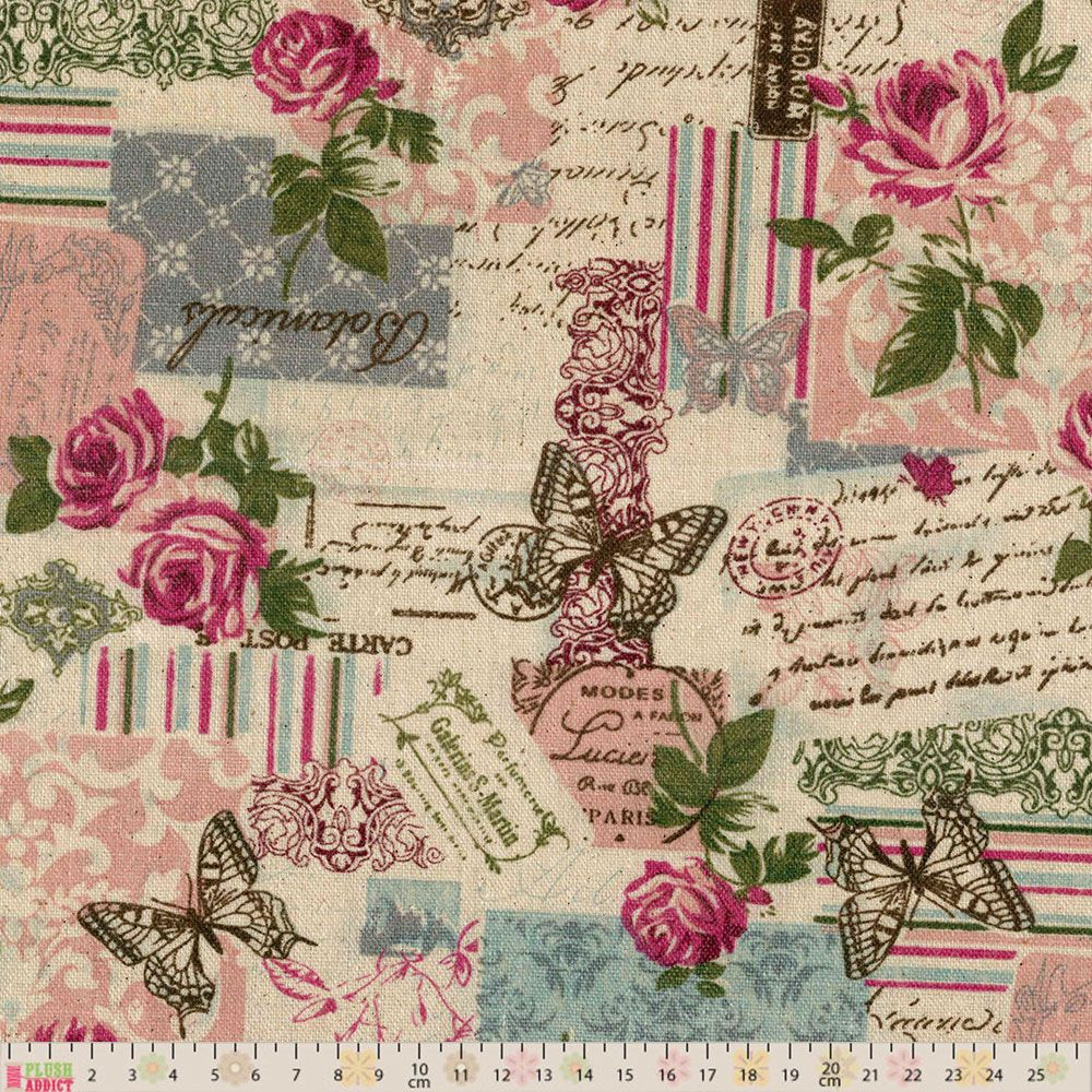 Linen Look Canvas Fabric - Vintage French Floral