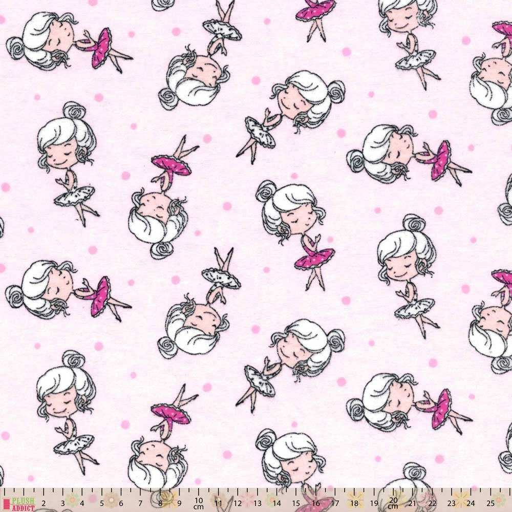 Nutex - Flannel Fabric - Ballerinas Pink