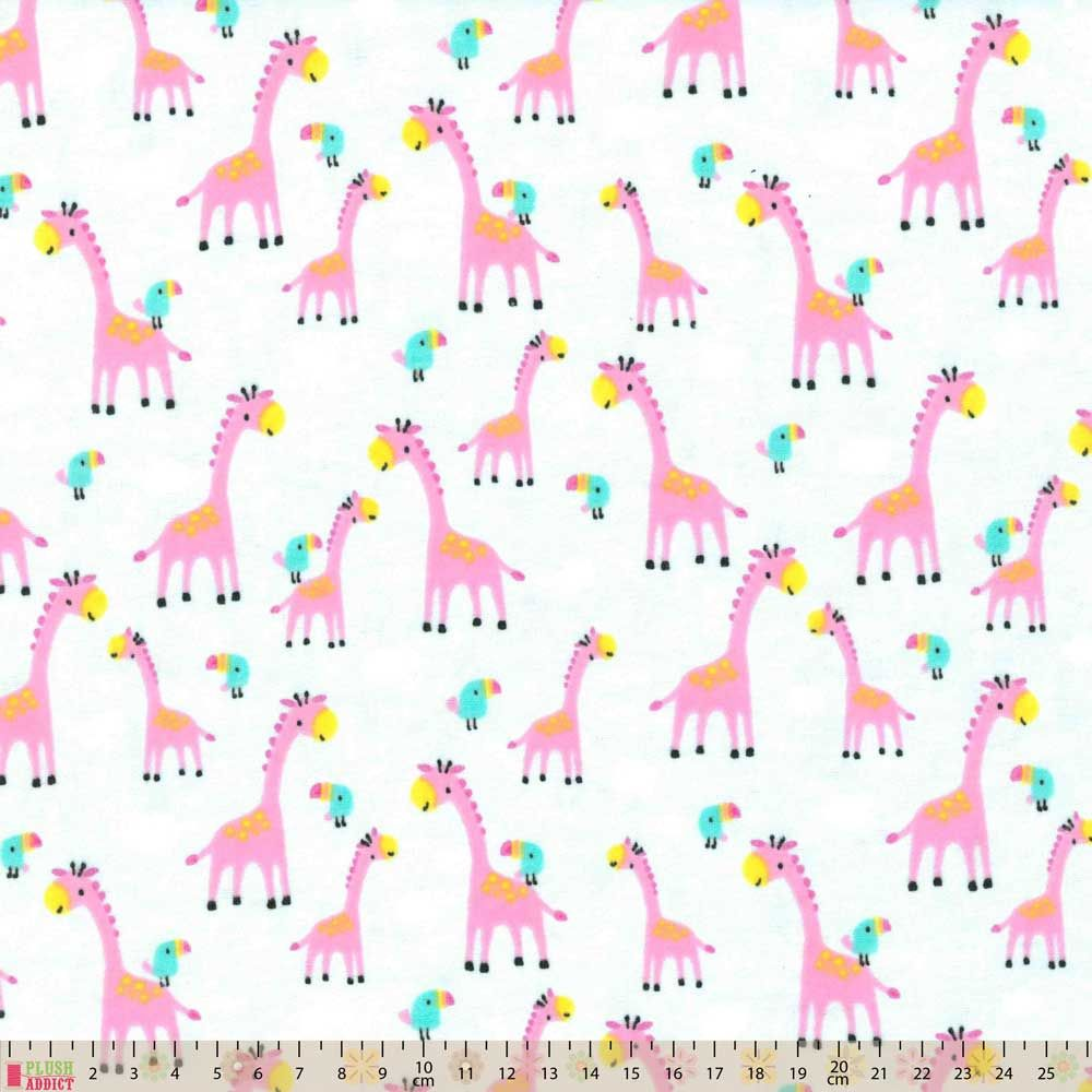 Nutex - Flannel Fabric - Giraffes On Pale Blue