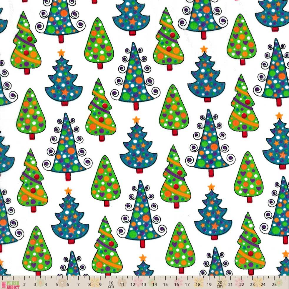 Polycotton - Christmas Trees On White