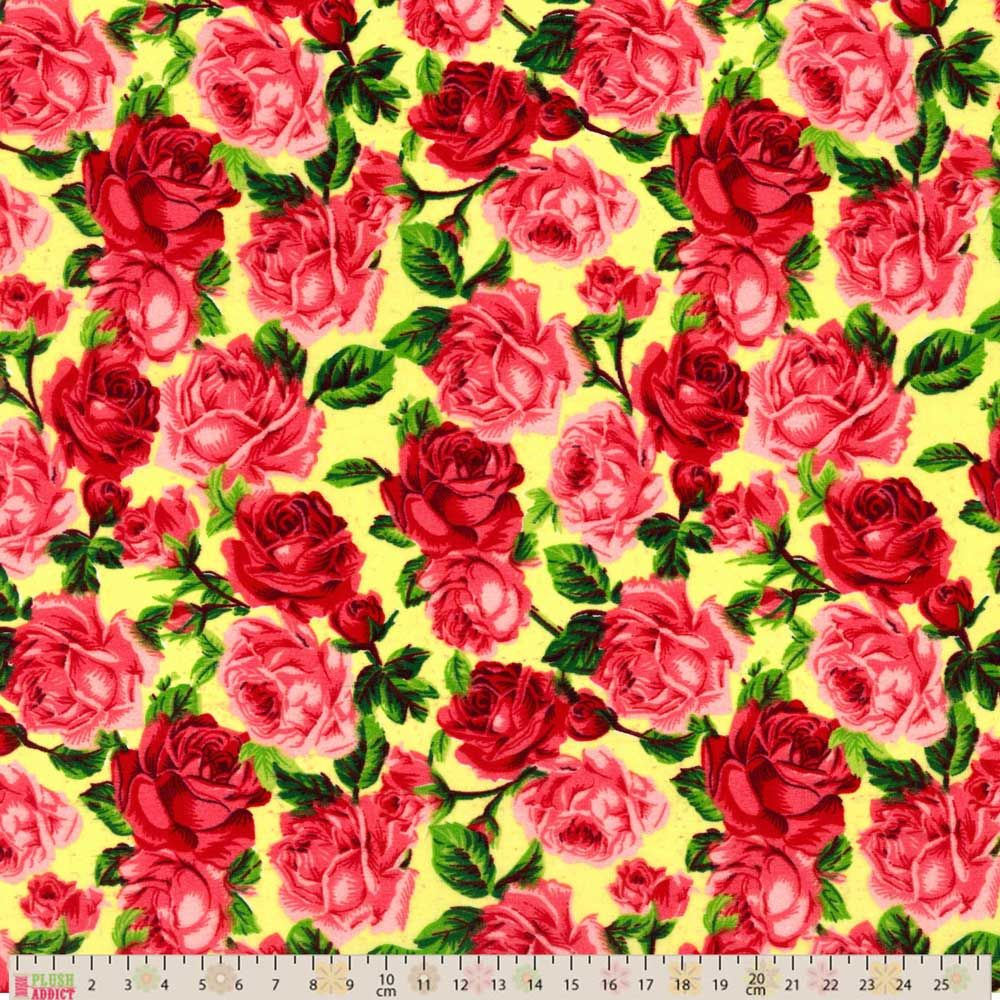 Polycotton - Red Vintage Roses on Cream