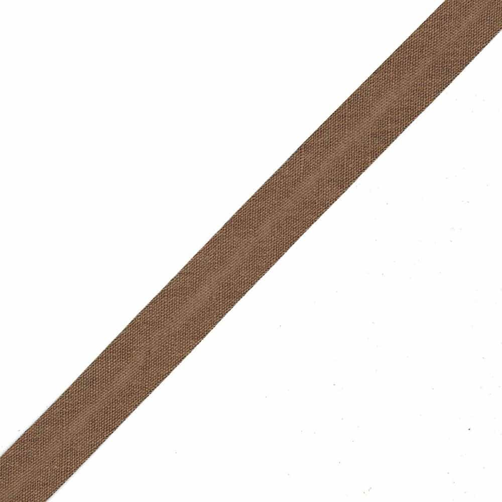 18mm Linen Bias Binding - Brown - Per Metre