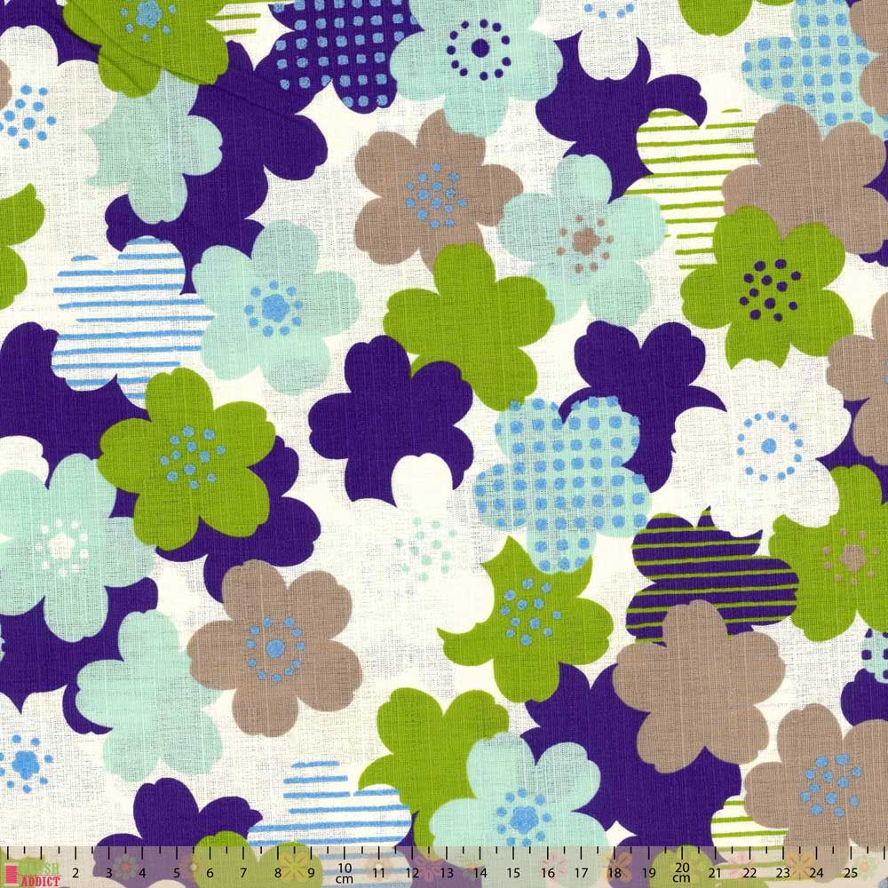 Cosmo - Textured Cotton Canvas - Blue Green Blooms
