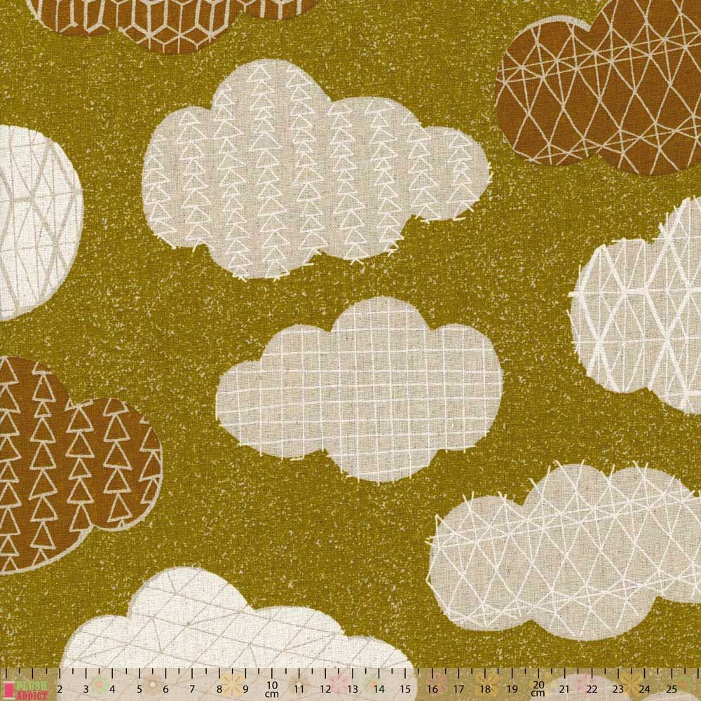 Cosmo - Cotton Hemp Canvas - Clouds On Green