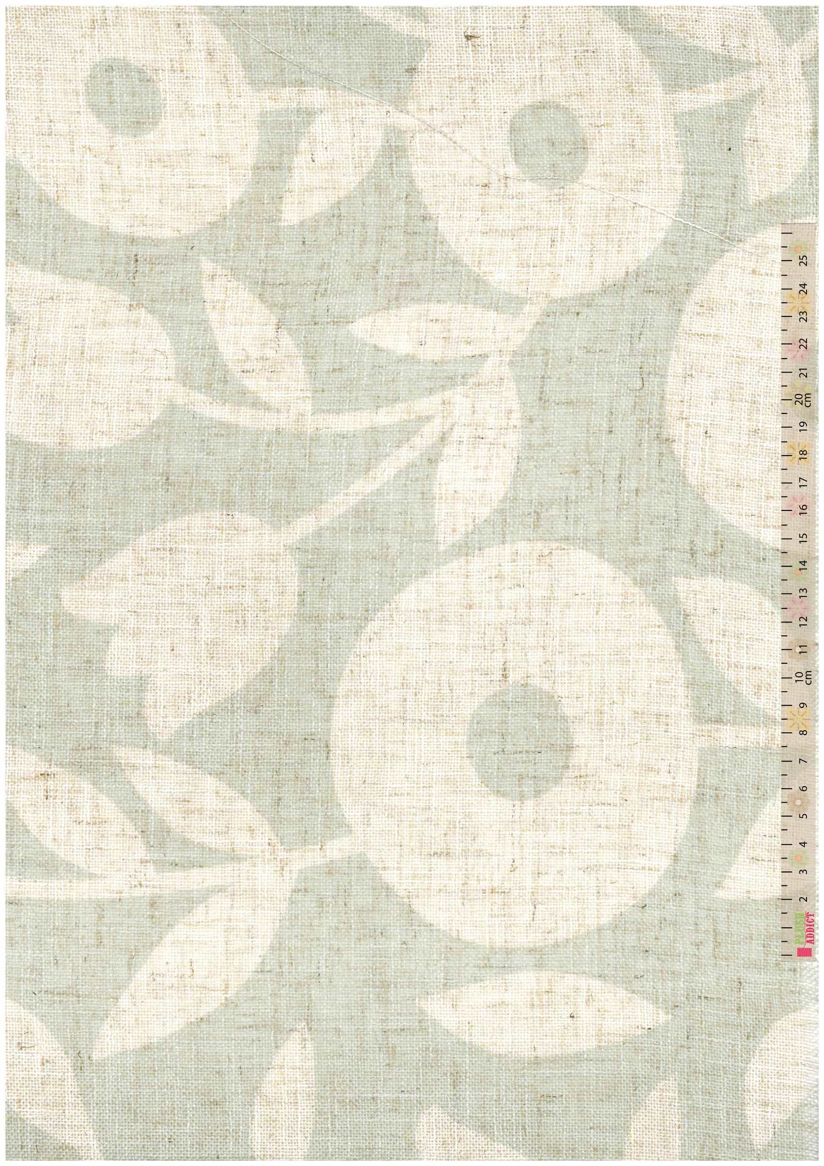Curtain Fabric - Loose Weave - Swedish Floral Green - 280cm Wide
