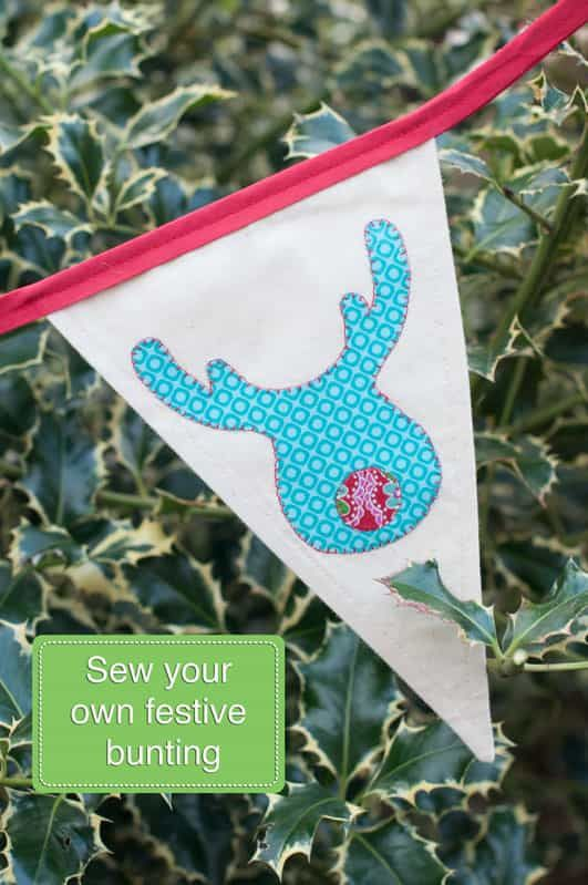 Christmas Bunting Tutorial and Appliqué Shapes Printable: Instant Download