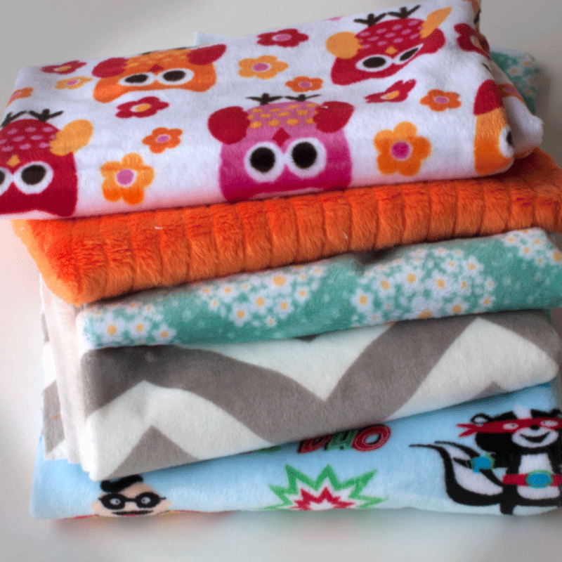 Patterned/ Textured Plush Remnant Bundle: Mixed Colours 1m approx