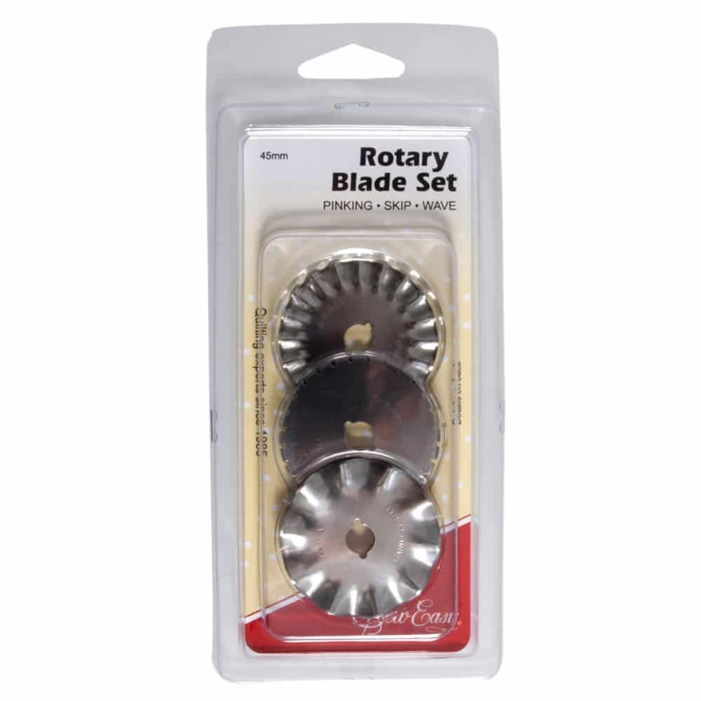 Sew Easy 45mm Rotary 3 Blade Set - Pinking, Skip and Wave Blades