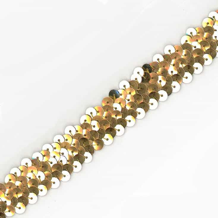 Sequins Stretch Trim - 20mm Wide Gold