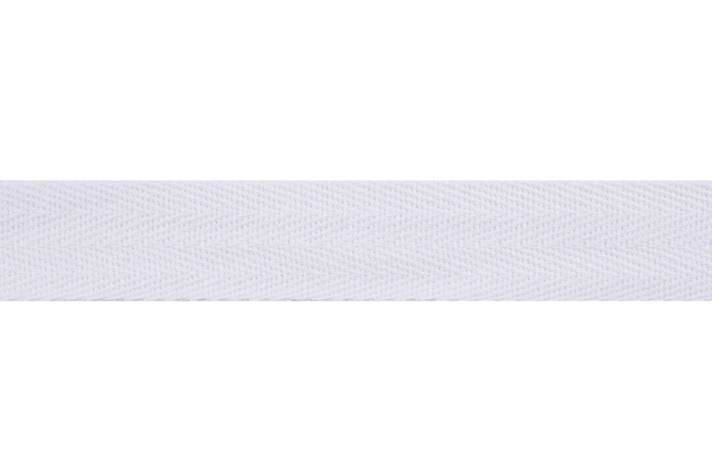 Cotton Herringbone Webbing Tape - 25mm Wide - White