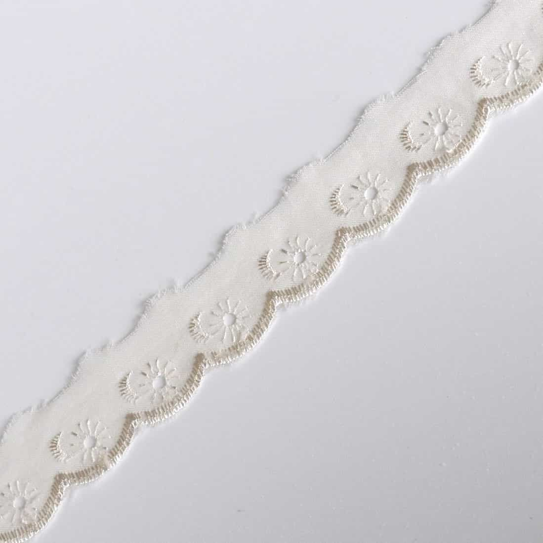 Broderie Anglaise Scalloped Lace Trim 25mm Wide - Cream