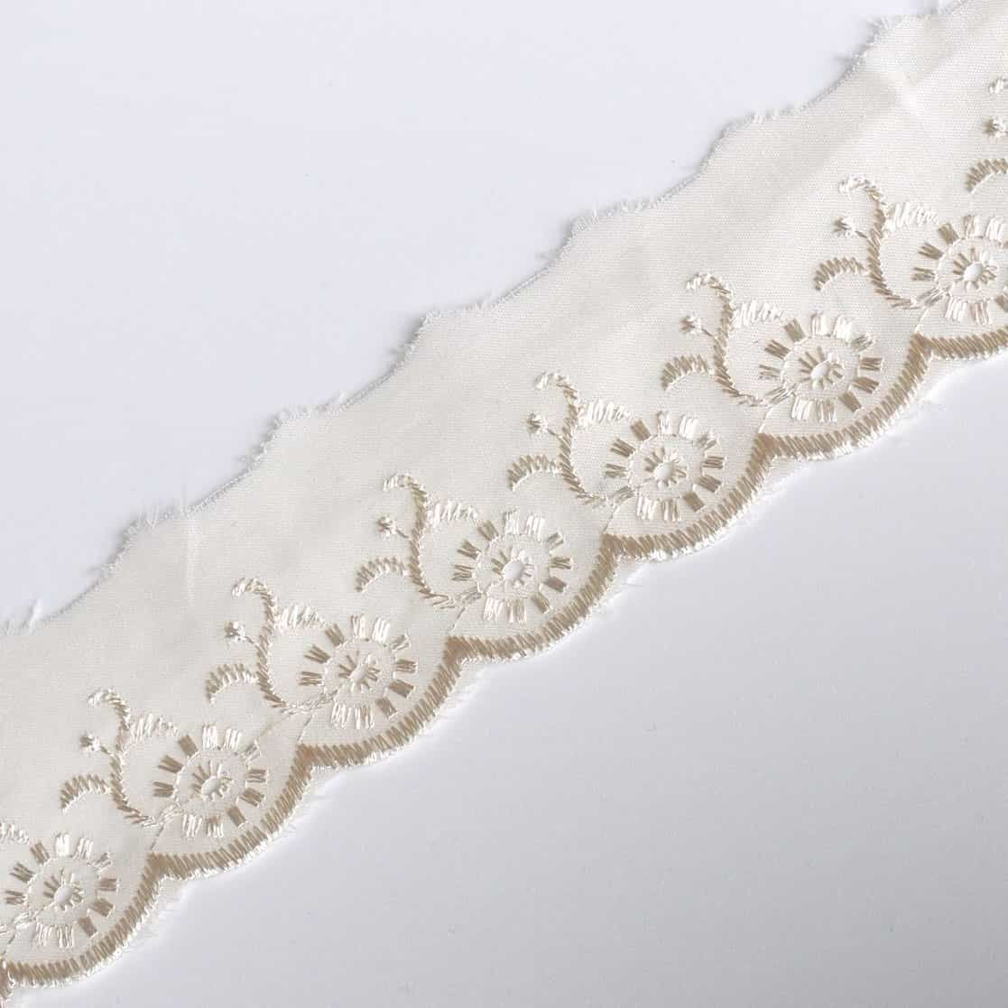 Broderie Anglaise Scalloped Lace Trim 50mm Wide - Cream