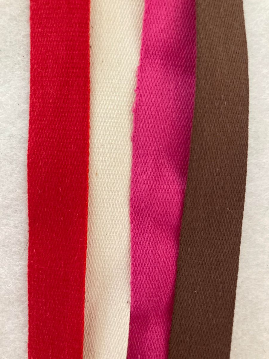 Remnant -Premium Quality Cotton Tape - 4 colours- 14mm Wide - 7.65m in TOTAL