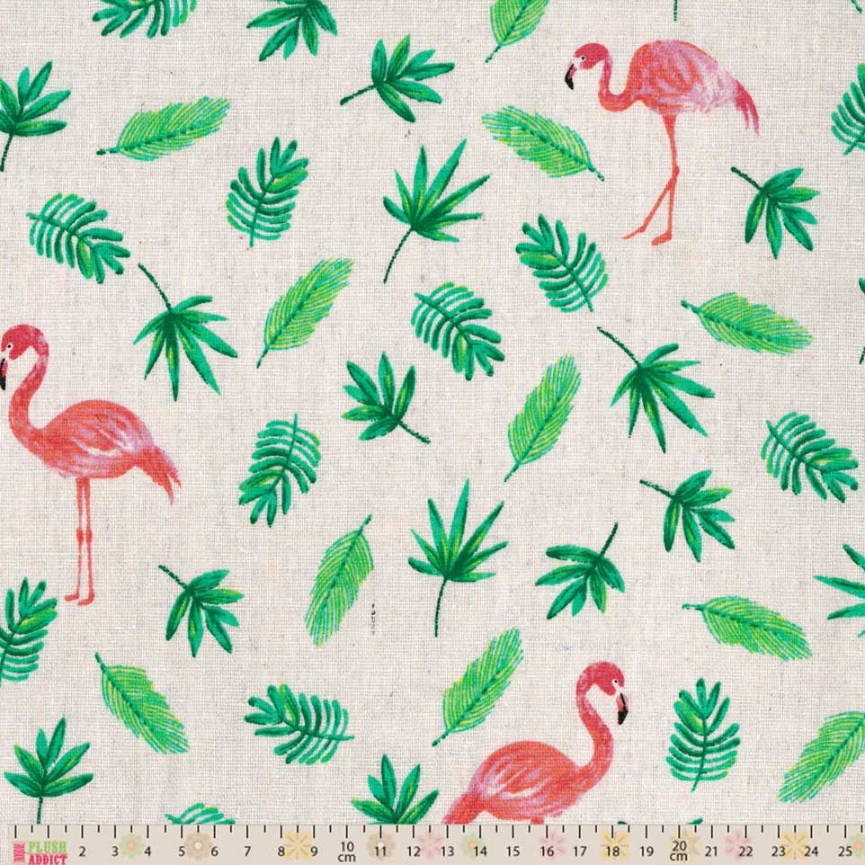 Cotton Fabric - Linen Look Canvas - Flamingos And Palm Leaves On Natural