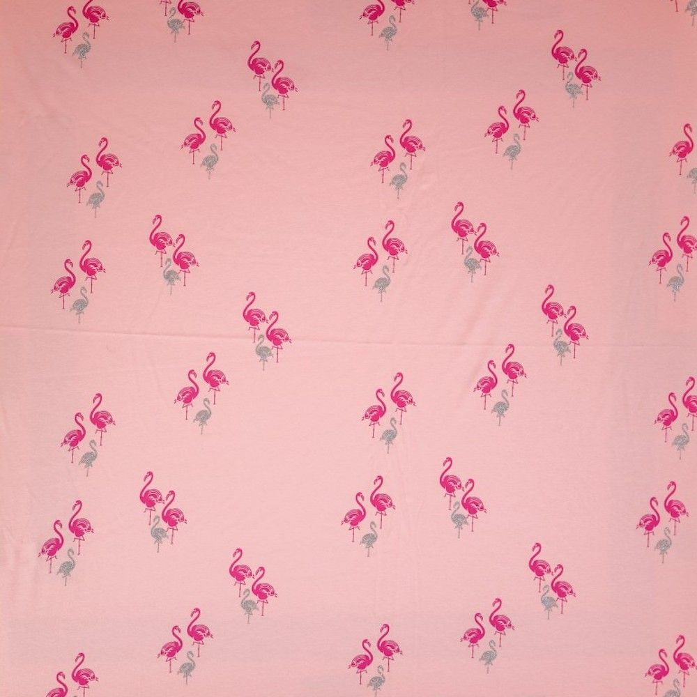 Stretch Cotton Spandex Jersey Knit - Flamingos On Pink With Glitter