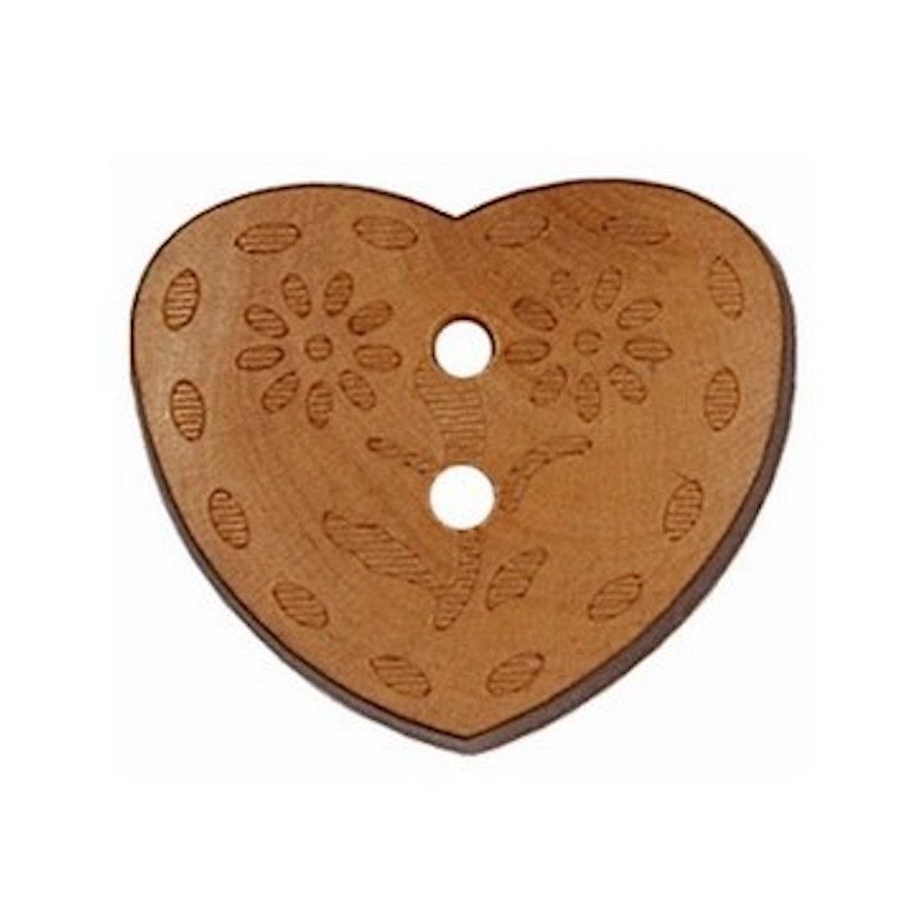 2 Hole Flower Engraved Wooden Heart Button - 15mm / 24L