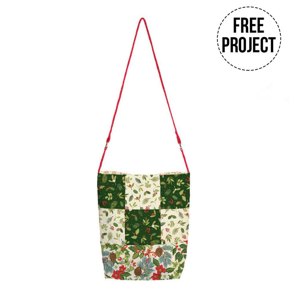 Makower: Yuletide Every Day Patchwork Bag Free Project: Instant Download