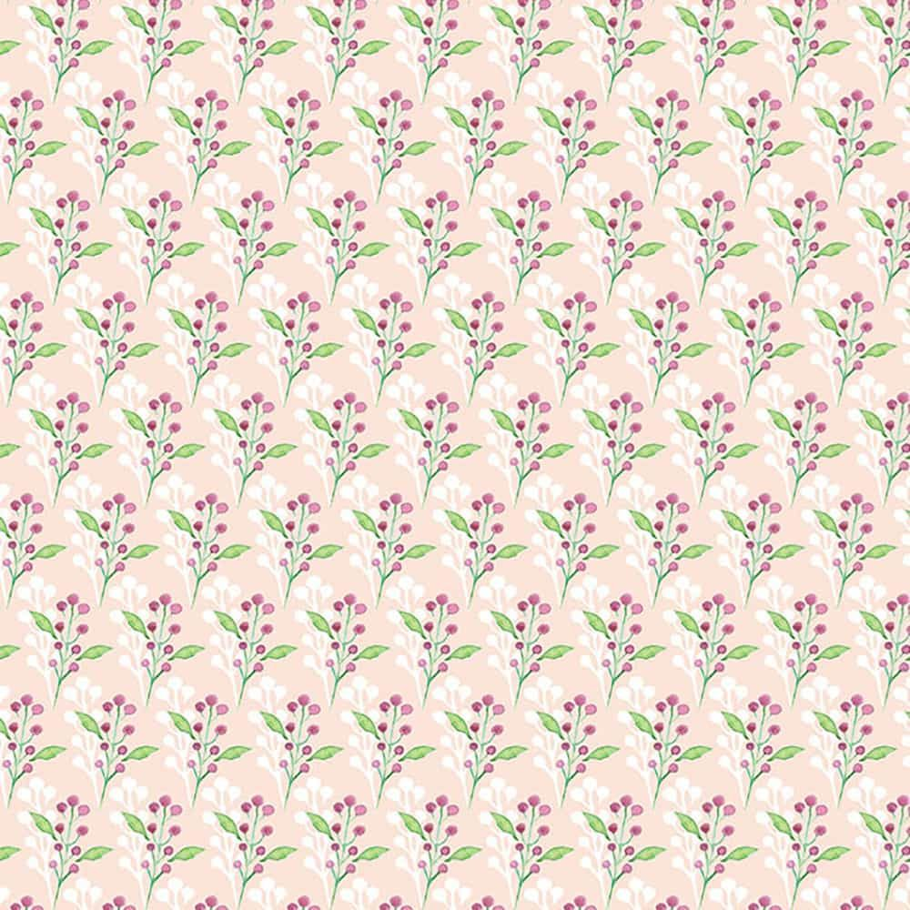 Fabric Freedom - Watercolour Floral - Flowers With Leaves Pink