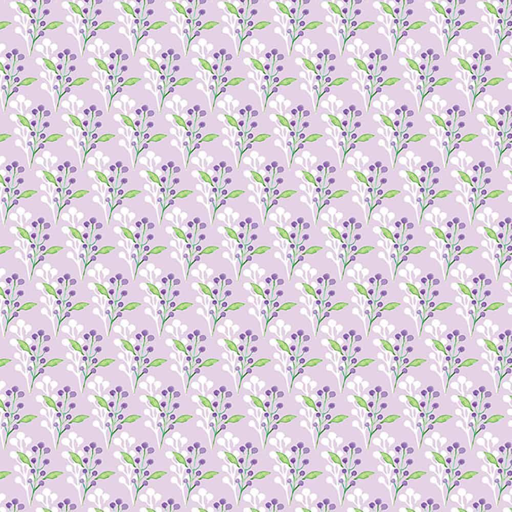 Fabric Freedom - Watercolour Floral - Flowers With Leaves Purple