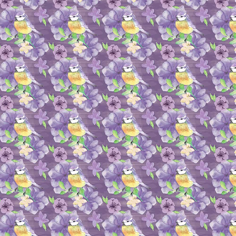 Fabric Freedom - Watercolour Floral - Birds And Flowers Small Purple