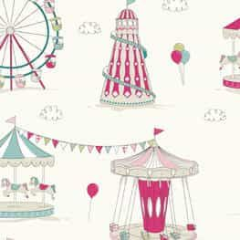 All The Fun At The Fair - Pink - Curtain Fabric