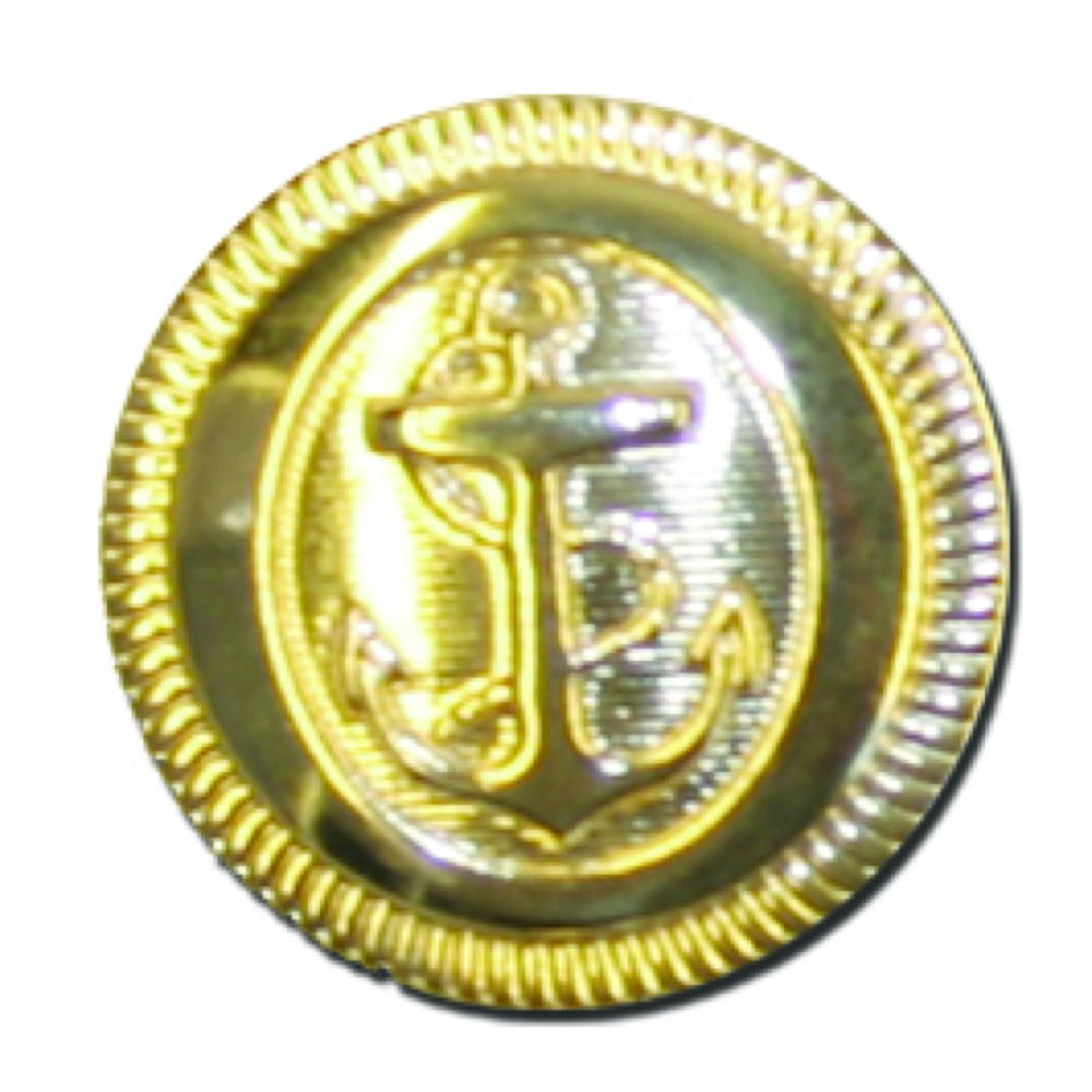 Round Gold Metal Anchor Button - 19mm / 30L
