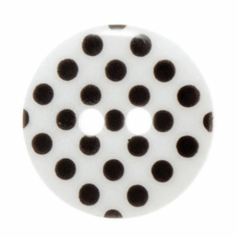 Spotty White and Black 2 Hole Button - 15mm/24L