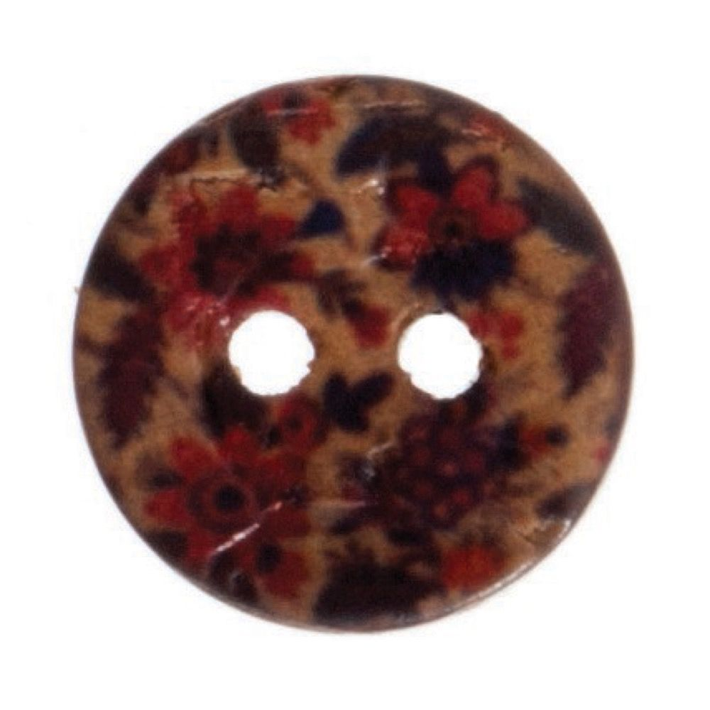 Round Coconut Shell Button - Floral Print - 12mm / 20L