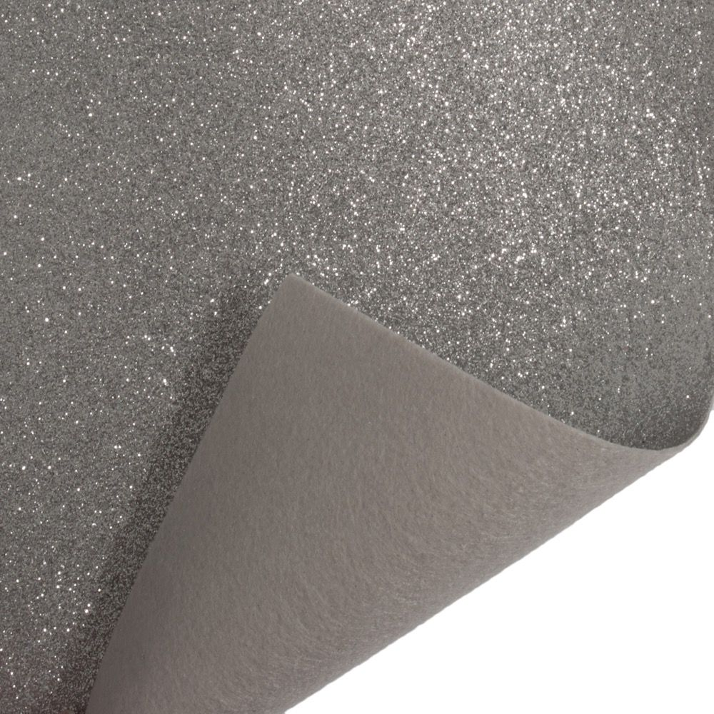 Glitter Acrylic Craft Felt Fabric 90cm Wide - Silver