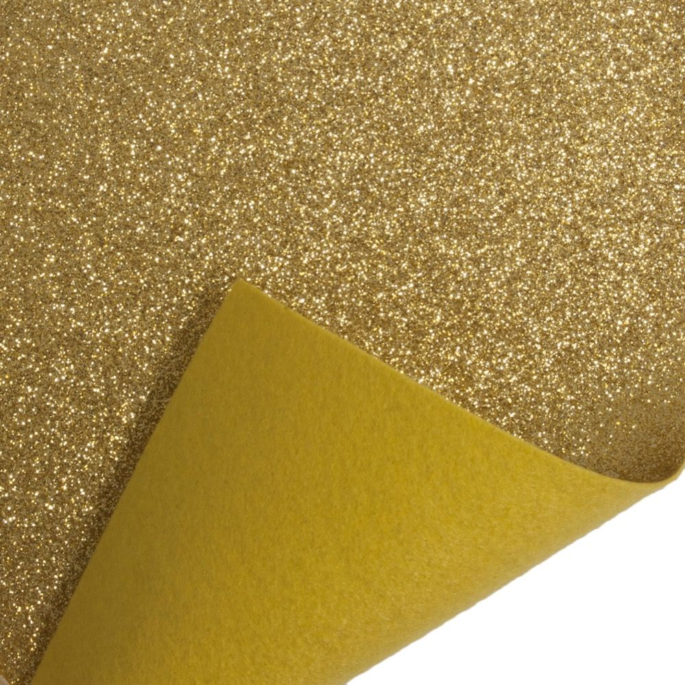 Remnant - Glitter Acrylic Craft Felt Fabric 90cm Wide - Gold - 40 x 90cm