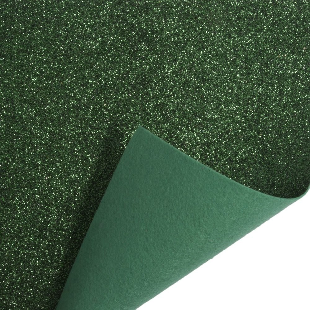 Remnant - Glitter Acrylic Craft Felt Fabric 90cm Wide - Green - 26 x 90cm