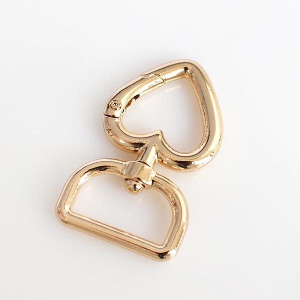 Metal Heart Shaped Swivel Bag Clip In Gold 20mm