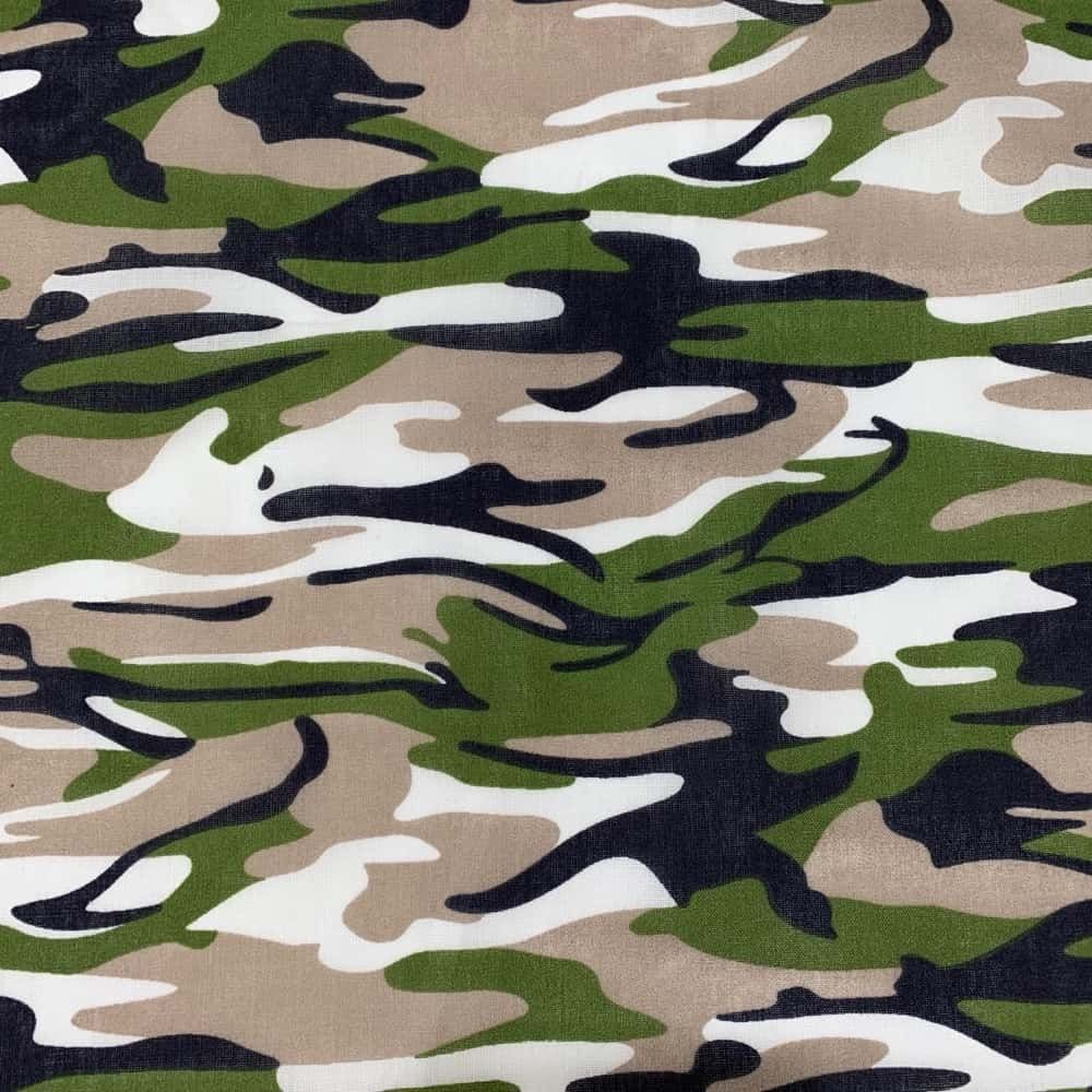 Camouflage Polycotton - Forest Green Army Camouflage