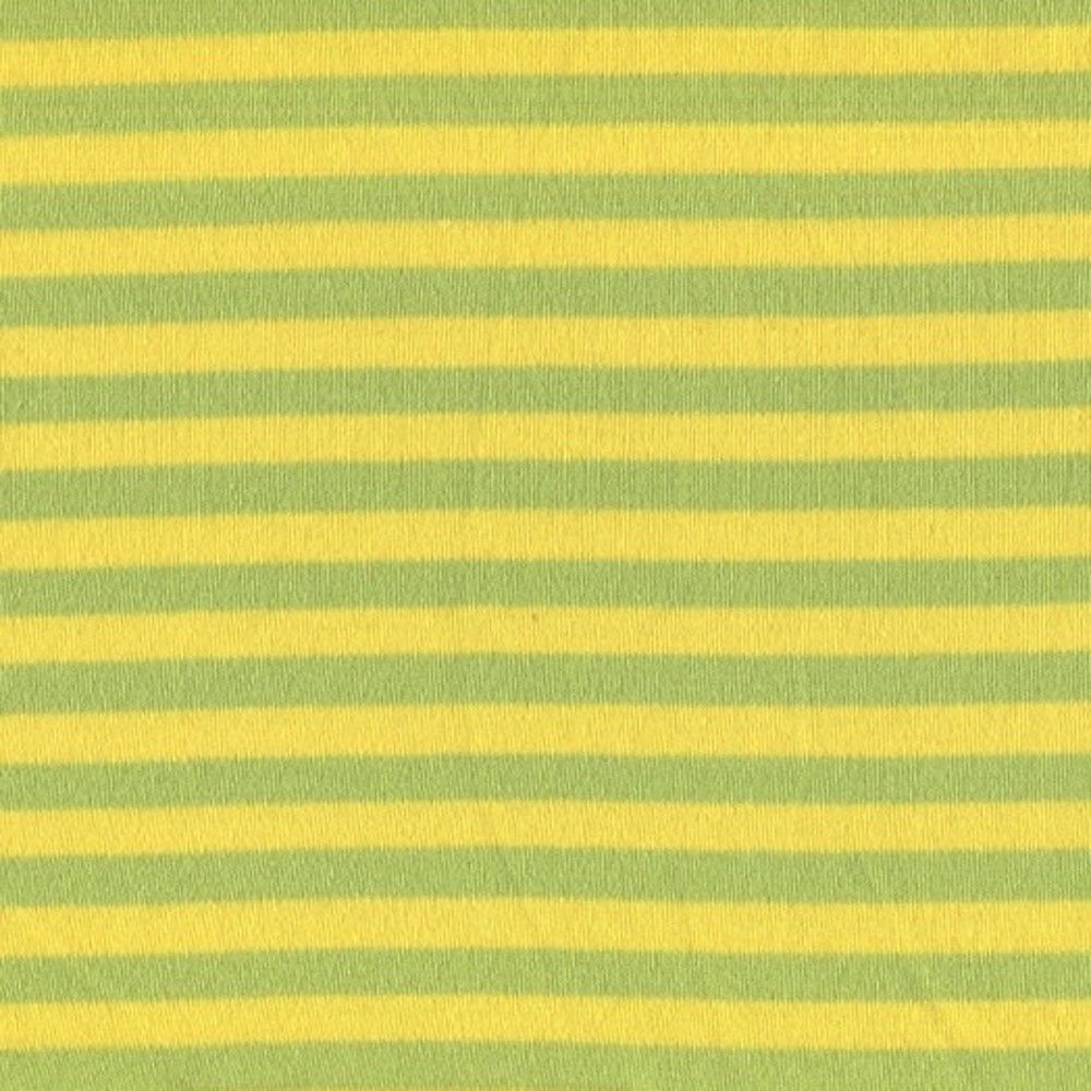 Stretch Cotton Interlock Jersey Knit - Green And Yellow 7mm Stripes