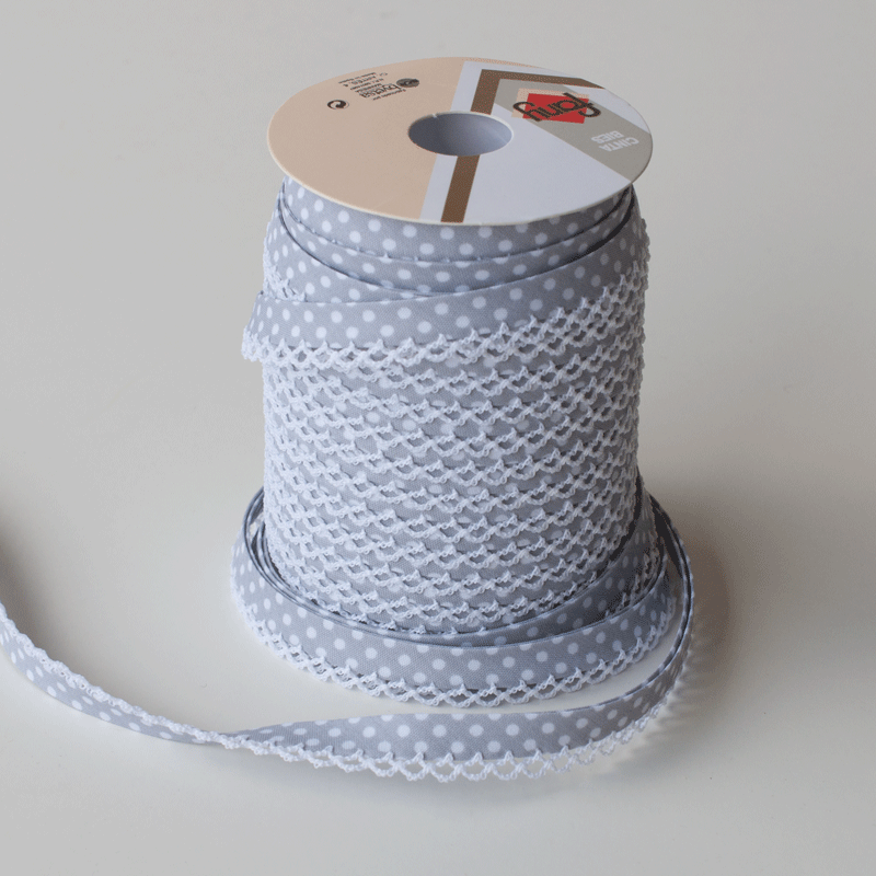 12mm Bias Binding Double Folded Lace Edged Grey With White Polka Dots - 5 Metre Pack