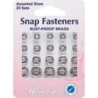 Sew On Snap Fasteners: Assorted - Nickel 20 Sets