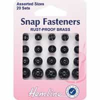 Sew On Snap Fasteners: Assorted - Black 20 Sets