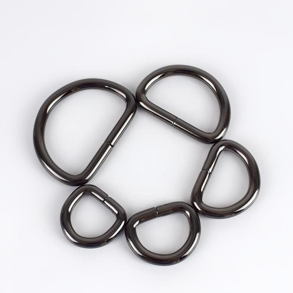 Premium Quality D Rings In Nickel Black - 5 Sizes