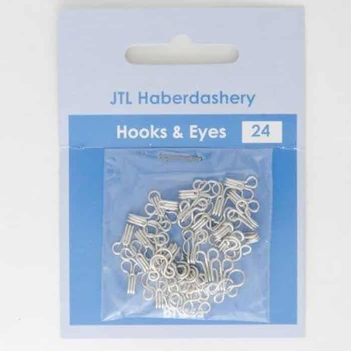 24 Sets Of Rustless Hook & Eye Fasteners - Size 0 - Silver Brass