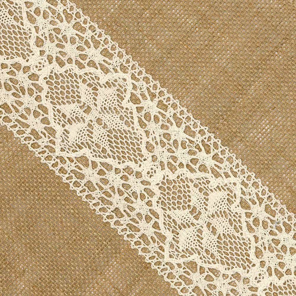 Hessian Trim With Lace Centre 30cm Wide