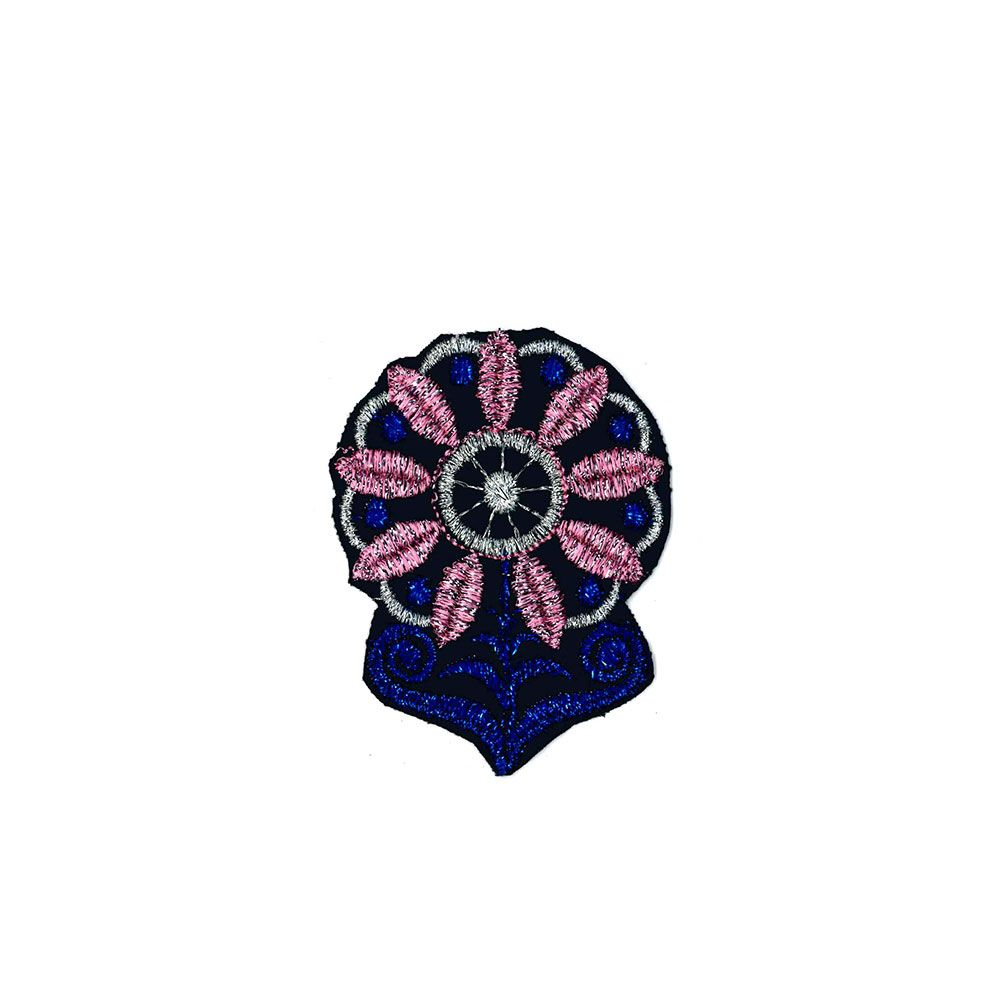 Remnant - 3 x Medium Embroidered Motif - Blue Pink Flower Sparkle - 10cm - Diacontinued Line