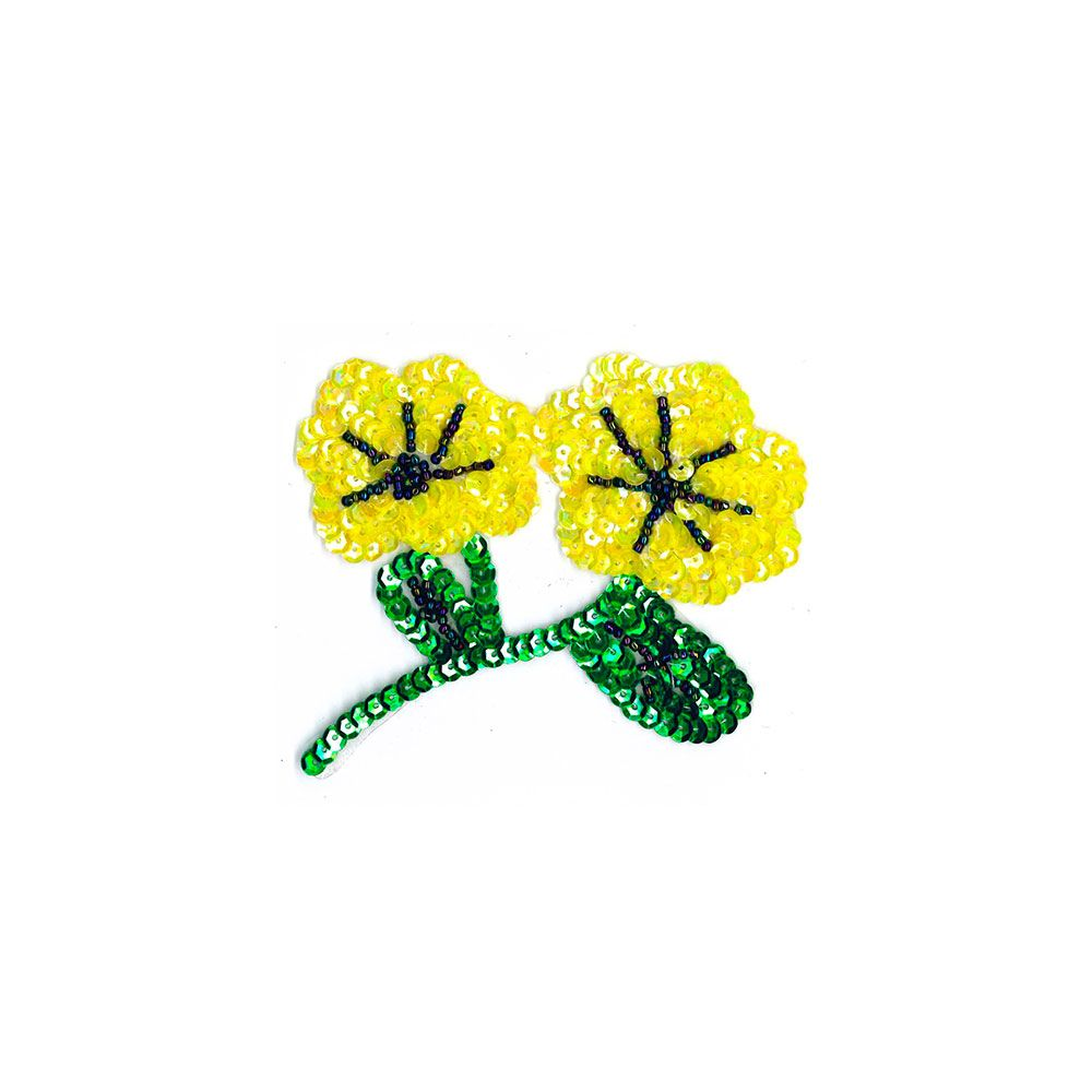 Sequined Motif - Double Yellow Flower - 10cm