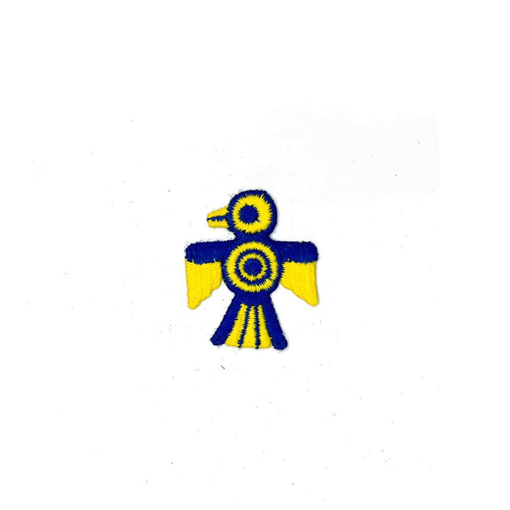 Small Embroidered Motif - Yellow & Blue Eagle Emblem - 6cm