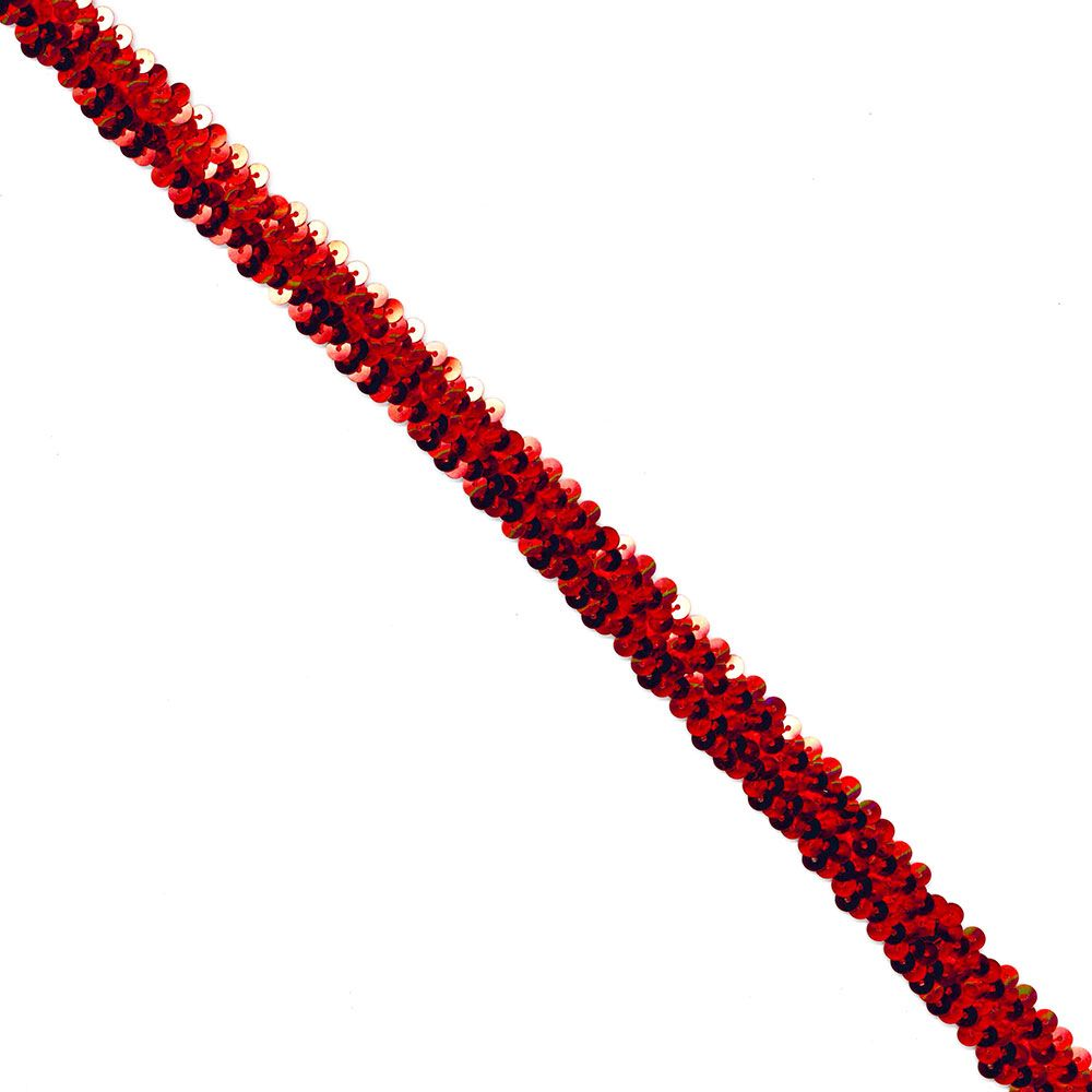 Sequins Stretch Trim - 20mm Wide - Red