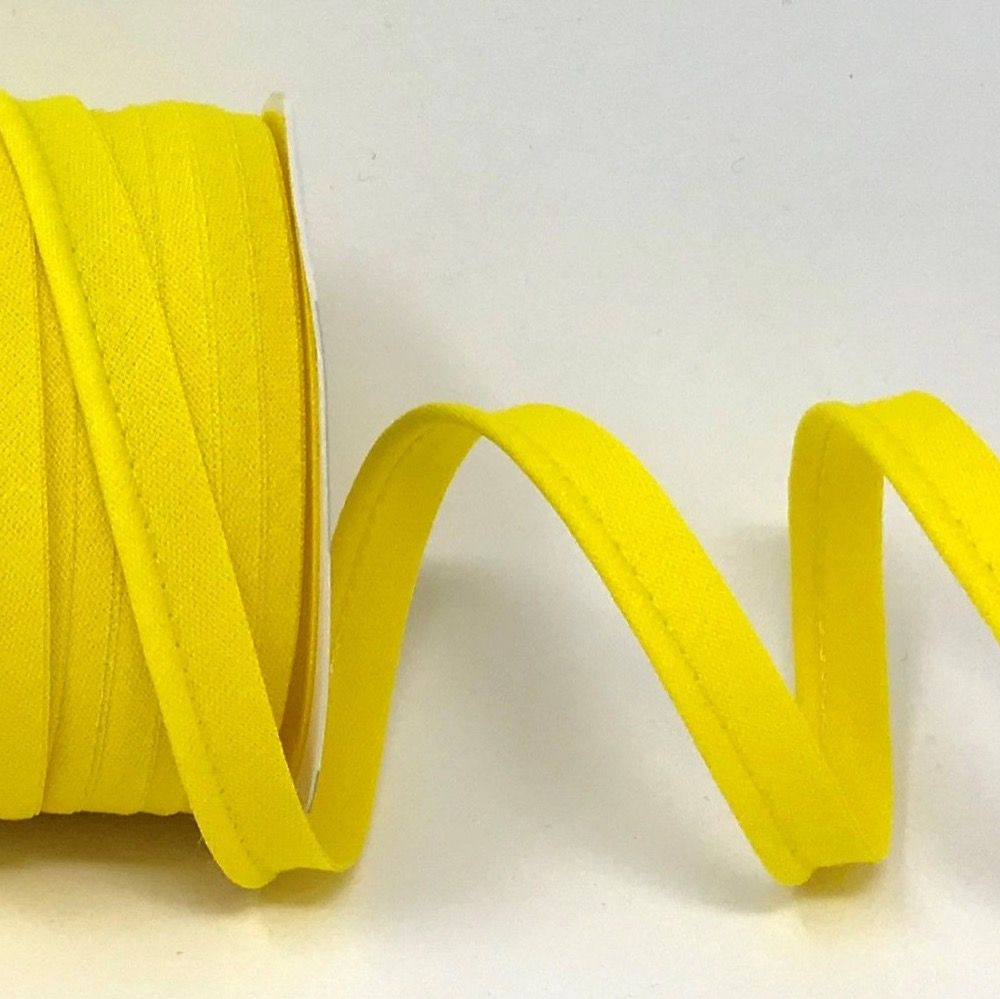 Plain Polycotton Piping Bias Binding - 10mm Wide - Yellow