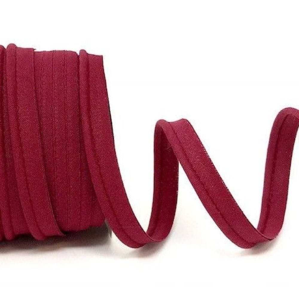 Plain Polycotton Piping Bias Binding - 10mm Wide - Burgundy