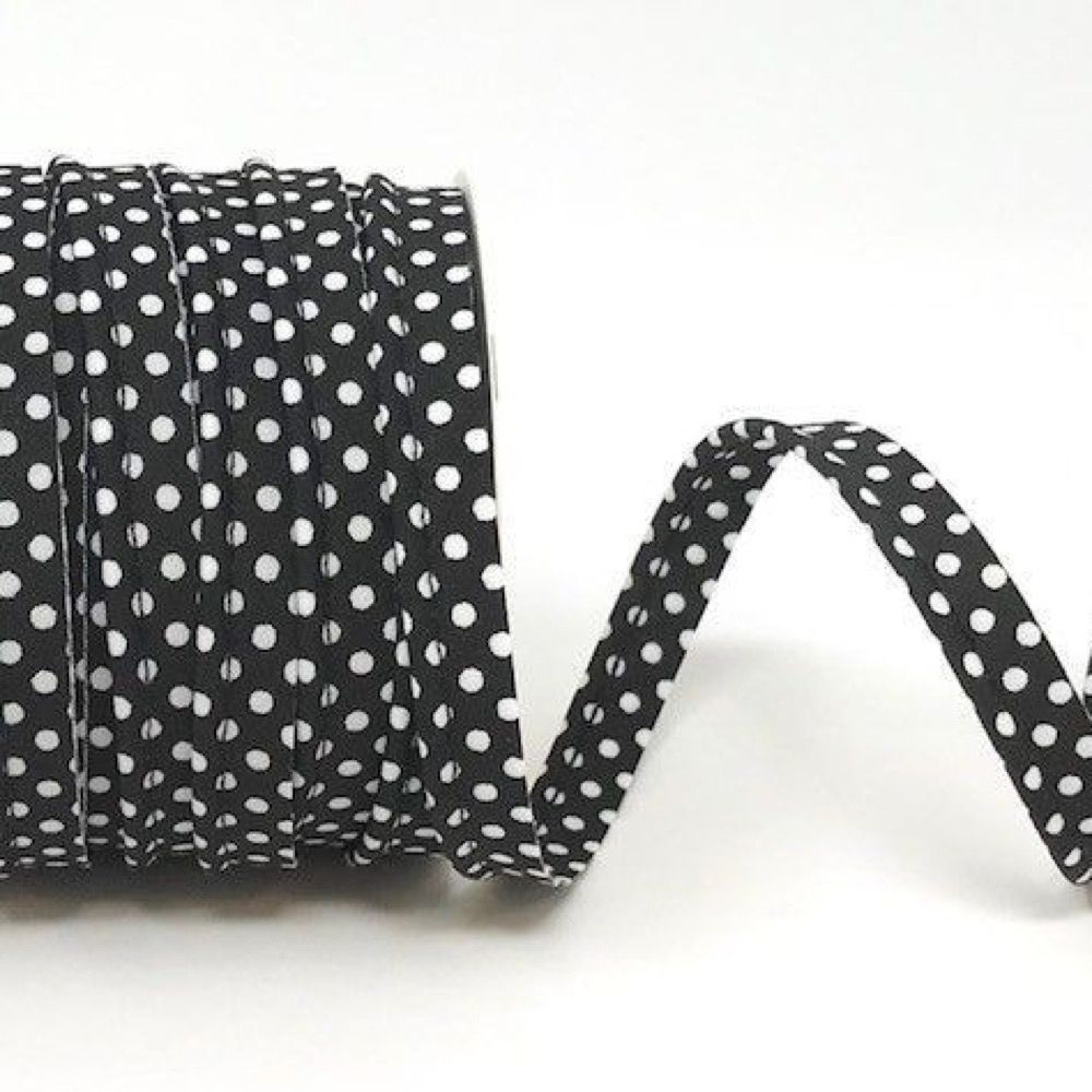 Polycotton Spotty Piping Bias Binding - 10mm Wide - Black With White Dots
