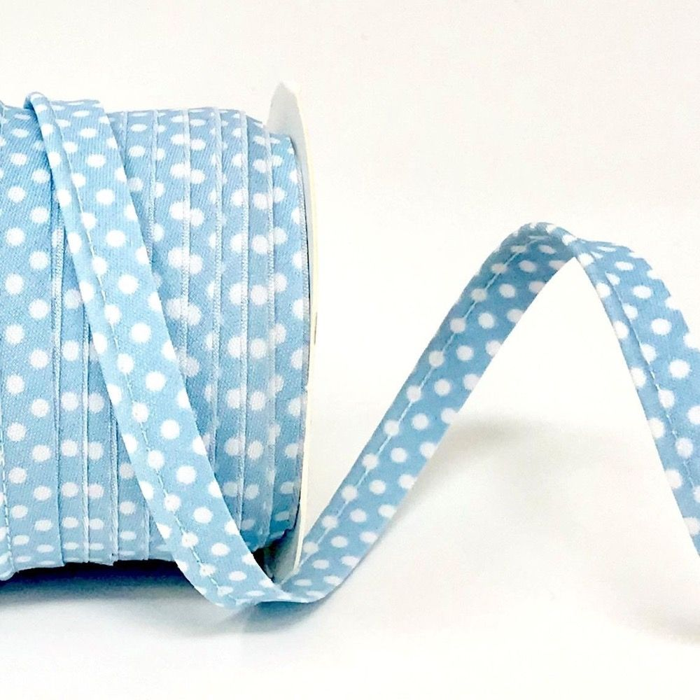 Polycotton Spotty Piping Bias Binding - 10mm Wide - Sky Blue With White Dots