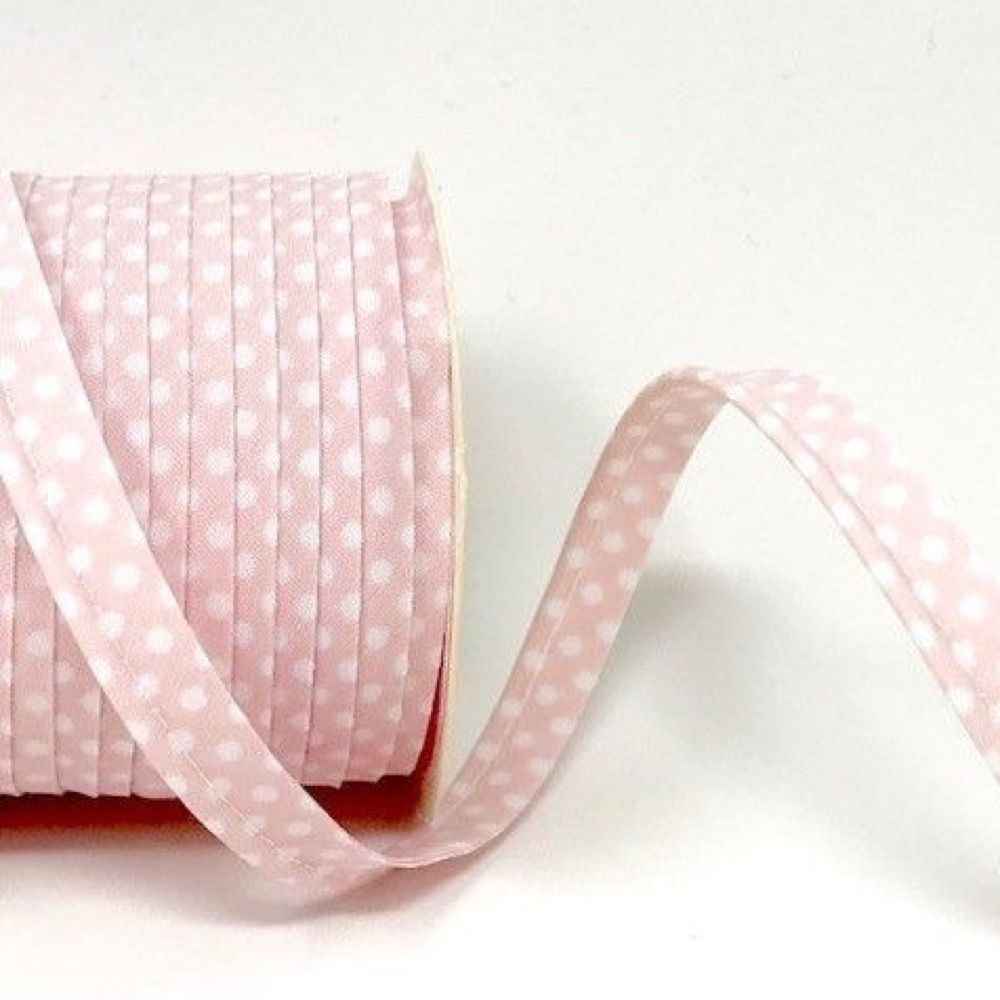Polycotton Spotty Piping Bias Binding - 10mm Wide - Baby Pink With White Dots