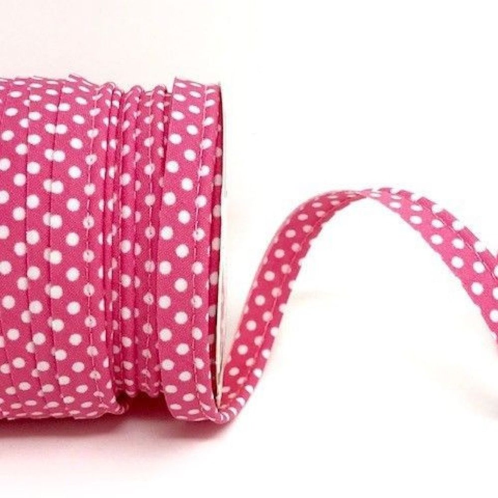 Polycotton Spotty Piping Bias Binding - 10mm Wide - Rose Pink With White Dots